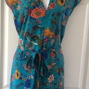 Turquoise Floral Print Tie Dress